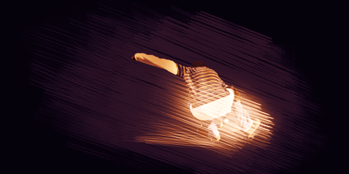 勢いのある加工処理をした写真 スケートボードの人物に迫力のあるブラシ加工処理を行う例