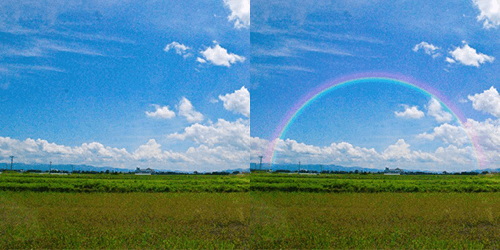 フォトショップで写真に虹をかける作例 グラデーションツールで空に虹をかける