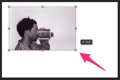 写真素材をドラッグして縮小する