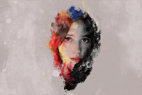 フォトショップを使った画像の加工例 ブラシを使った人物写真の加工例