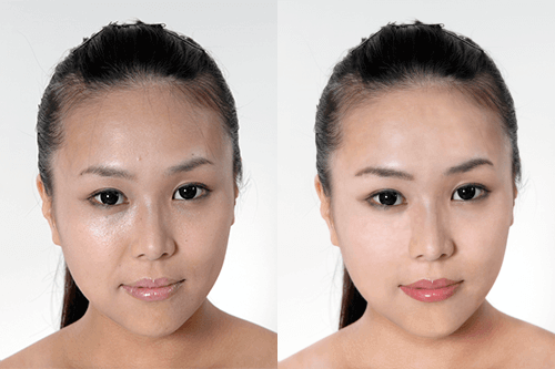 フォトショップ レタッチ 例 人物の肌レタッチ 女性の肌をきれいにする作例